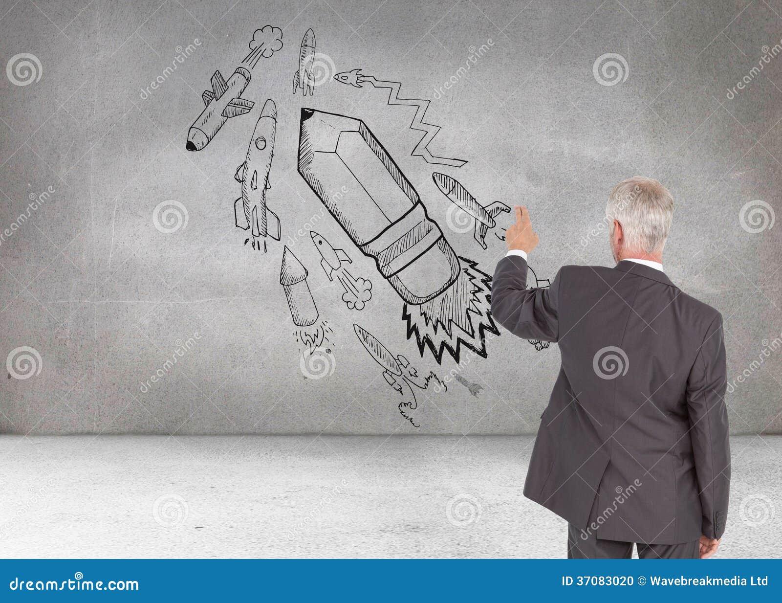 Download Tylni Widok Z Klasą Dojrzały Biznesmen Wskazuje Palec Zdjęcie Stock - Obraz złożonej z ołówek, biznes: 37083020