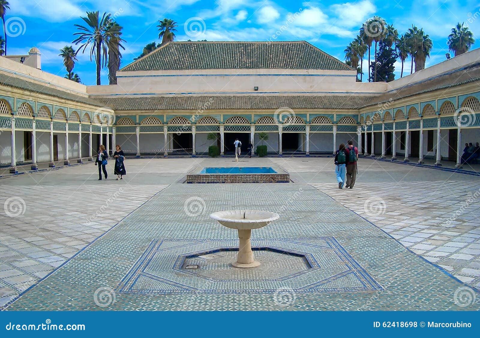 Tylny podwórze Bahia pałac, Marrakech