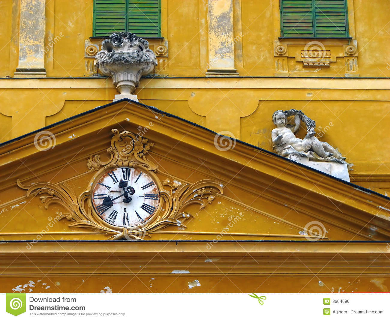tympanum of old yellow castle royalty free stock image - image