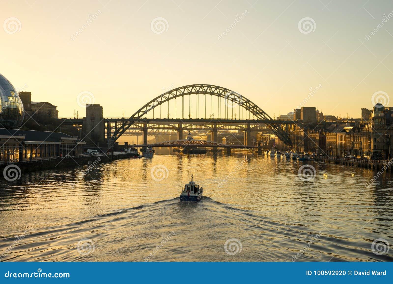 Tyne Bridge - solnedgång
