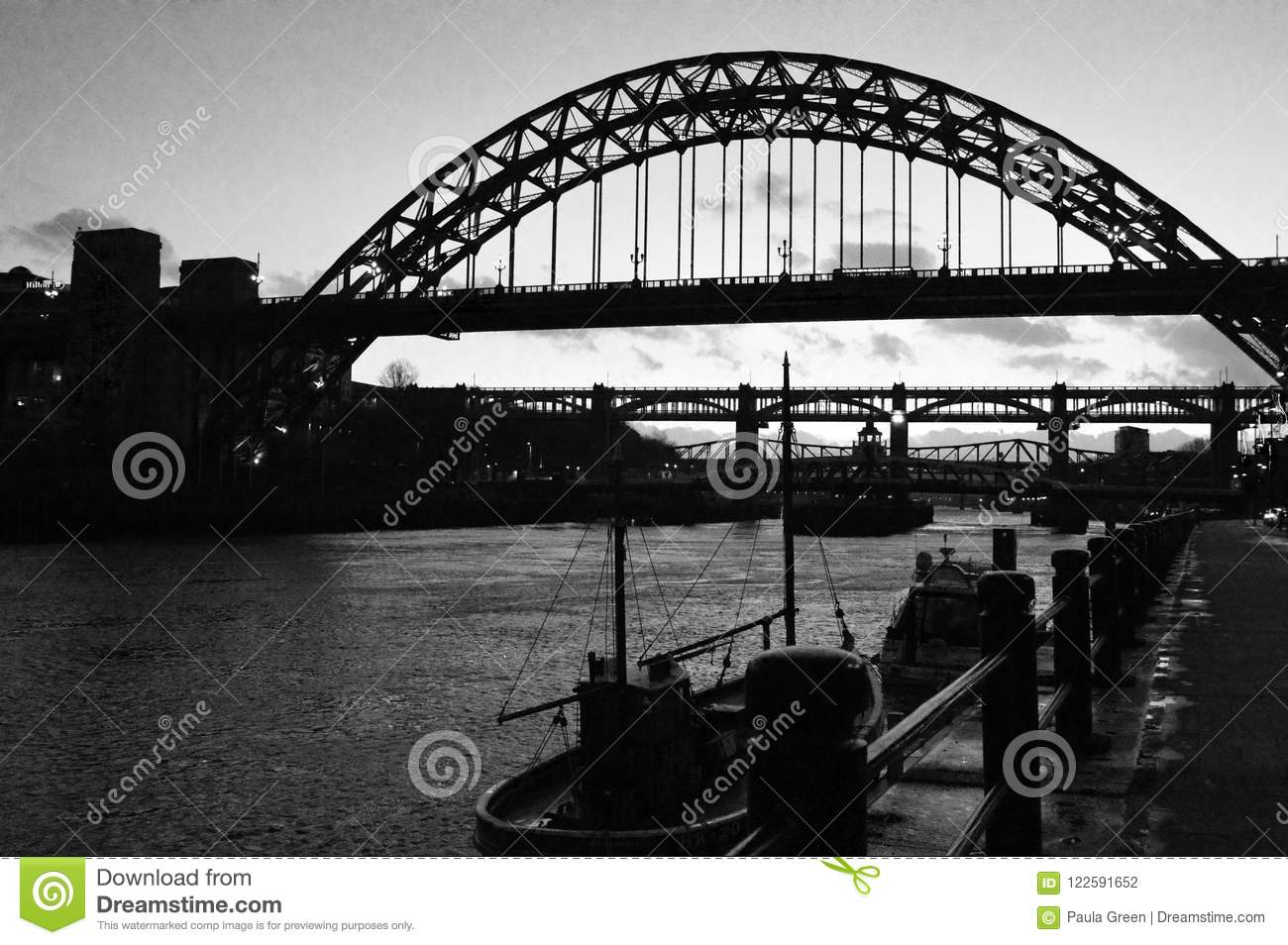 Newcastle upon tyne north east england famous bridges over the river tyne in silhouette and black and white landscape orientation