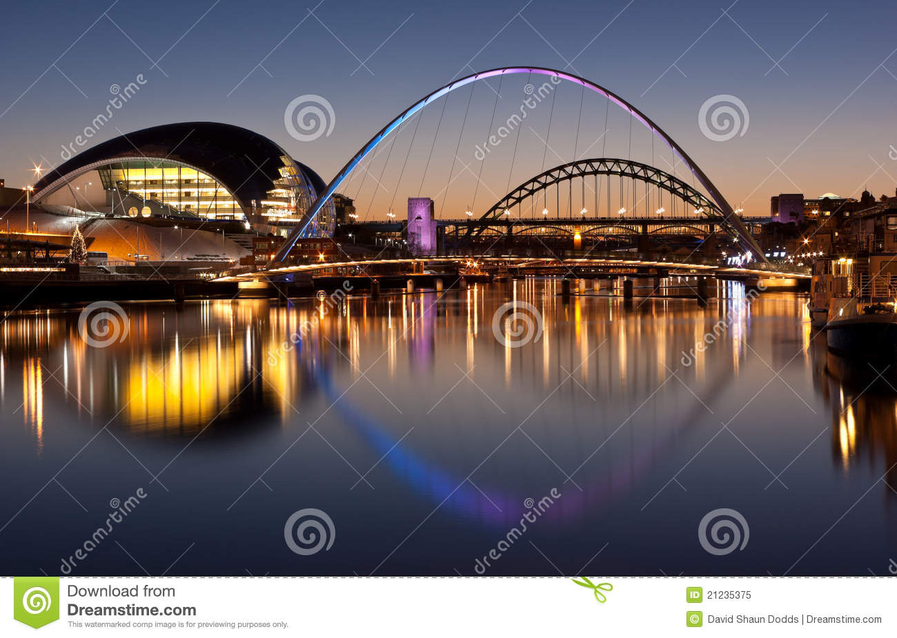 Download Tyne Bridges At Sundown stock image. Image of suspension - 21235375