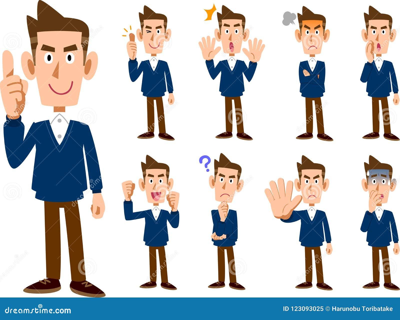 9 typ męski wyrażenia i pozy ustalonego _cały ciało