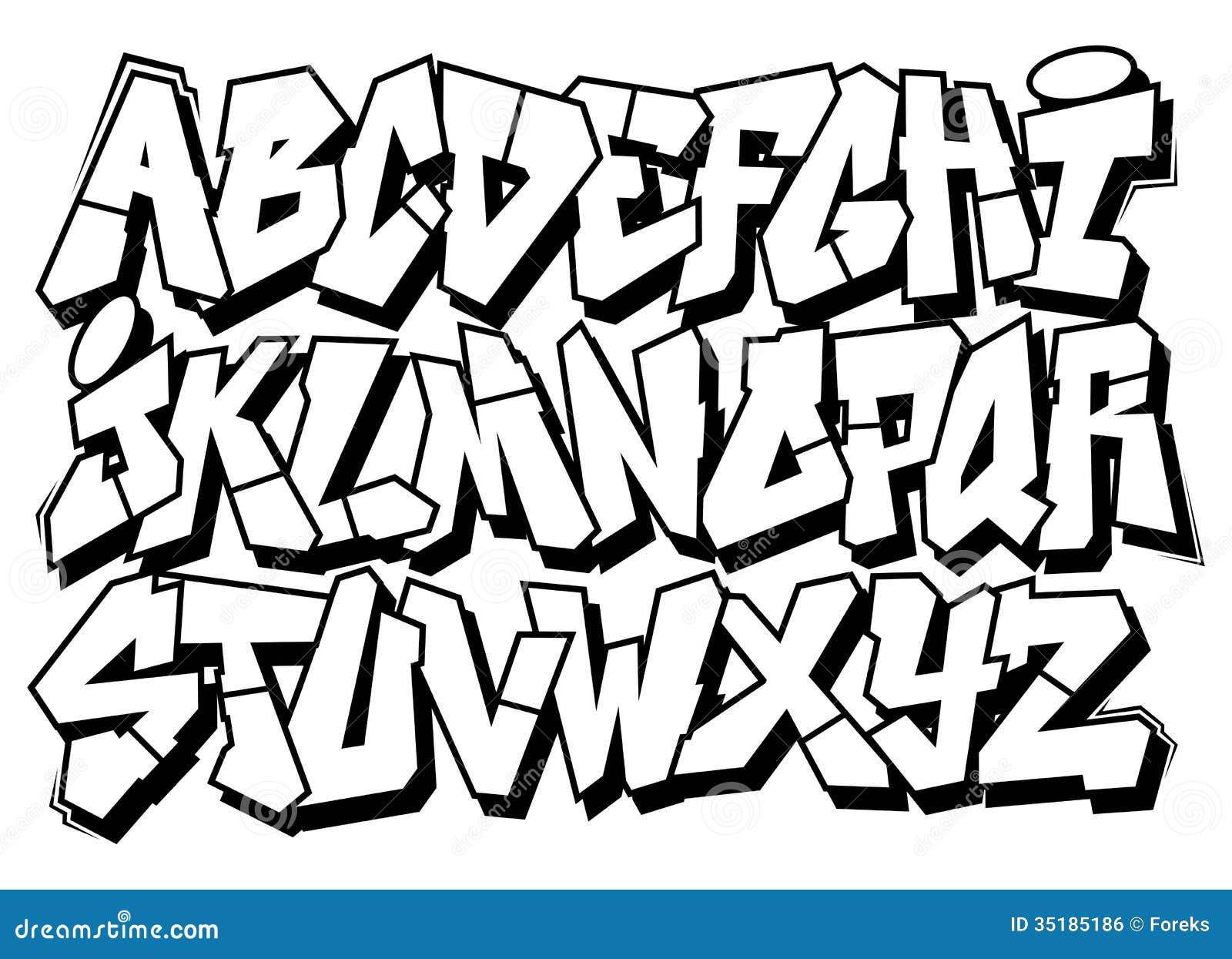 Type classique alphabet de police de graffiti d art de rue