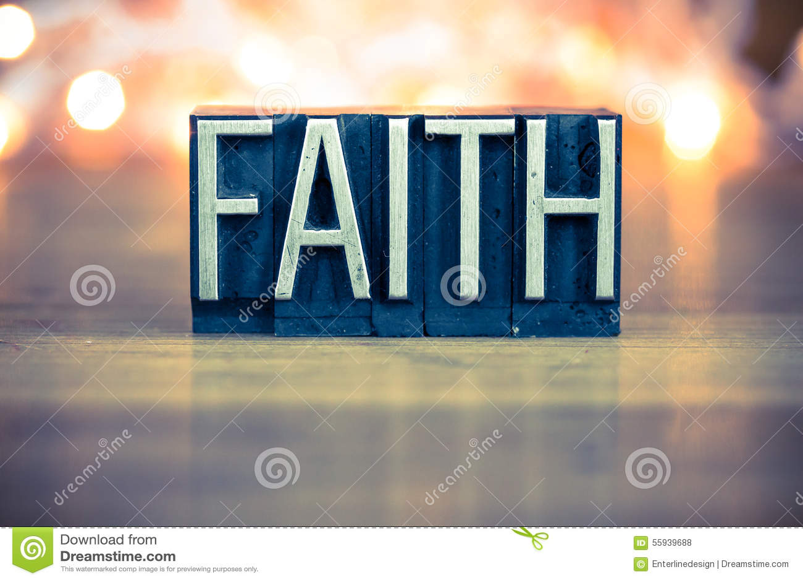 Type d impression typographique en métal de concept de foi