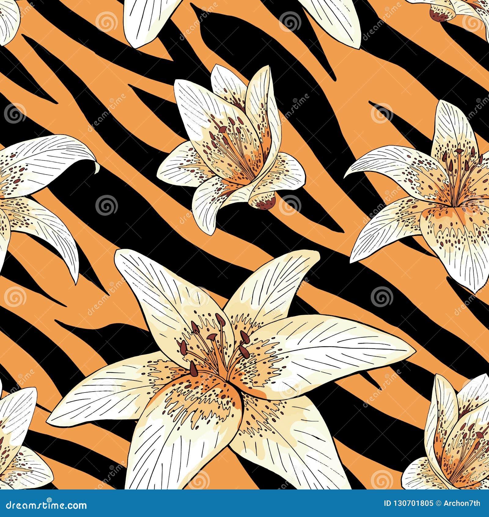 Type de tigre de lis sur le modèle de peau de tigre sans couture