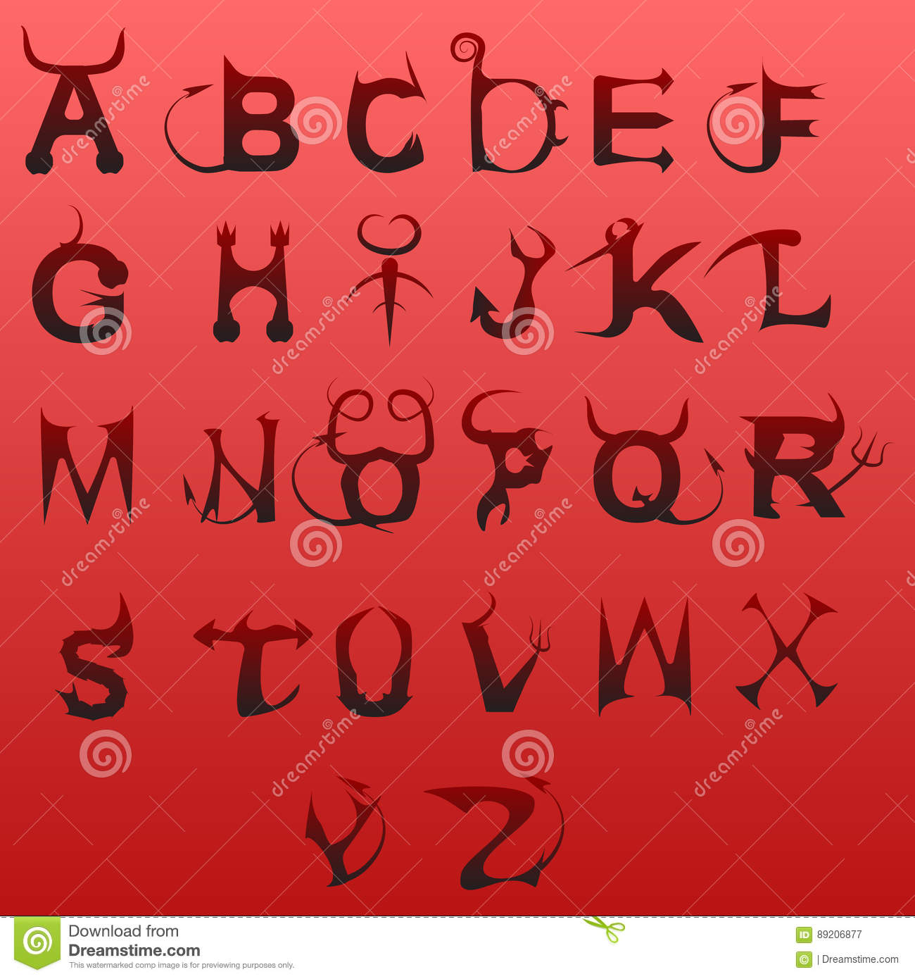 Lucifer Font: Type Stock Vector. Image Of Style, Mystical, Sign, Type