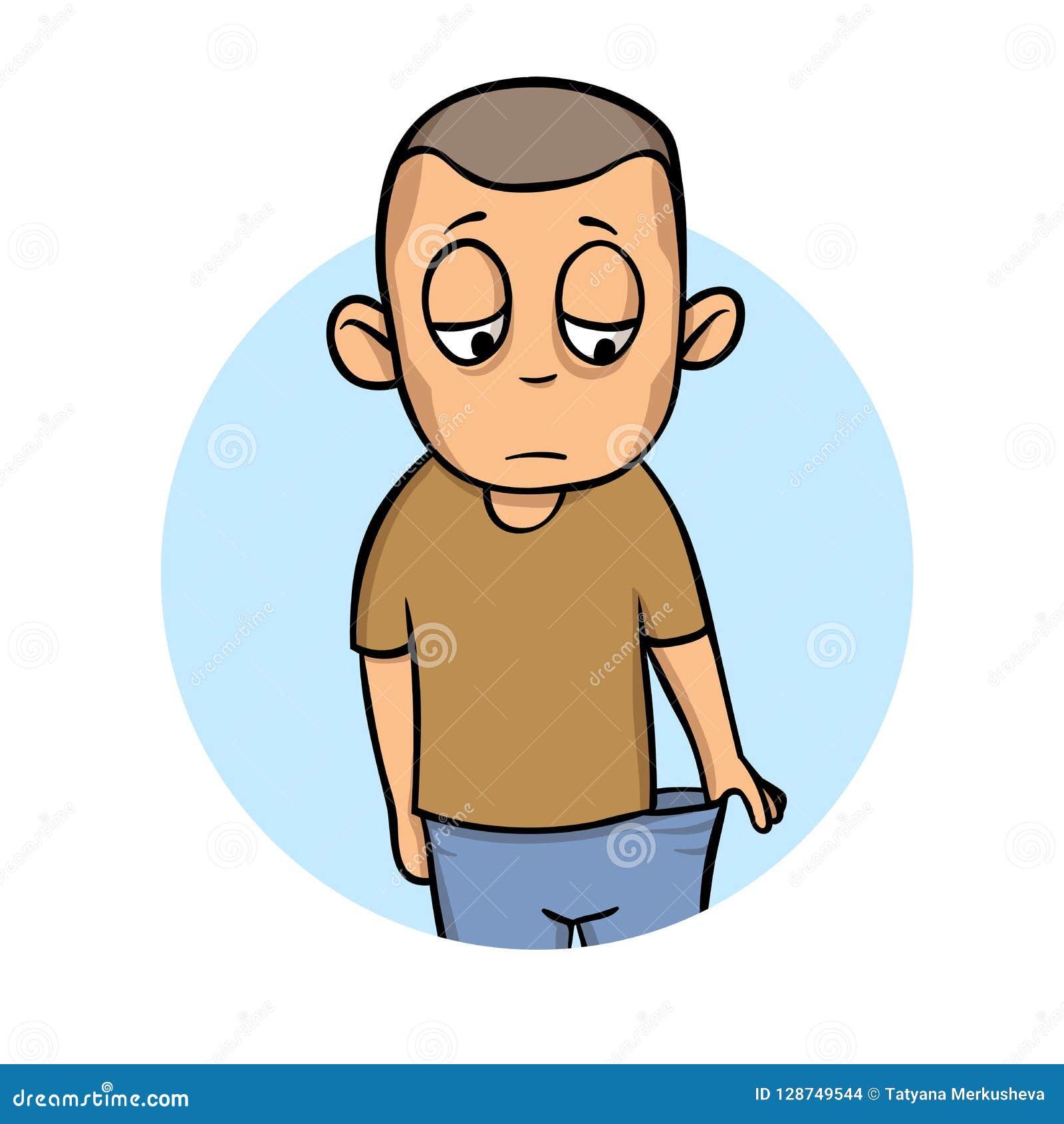 Type mince qui a perdu le poids Jeune homme malade peu satisfait de son état Icône de conception de bande dessinée Illustration p