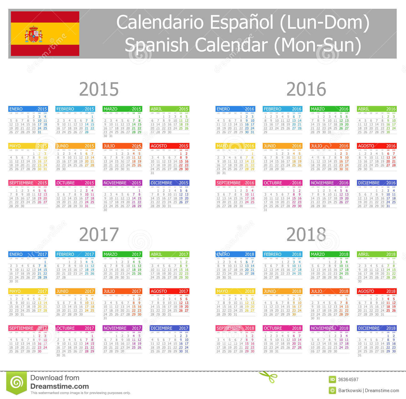 Royalty Free Stock Photography: 2015-2018 Type-1 Spanish Calendar Mon ...