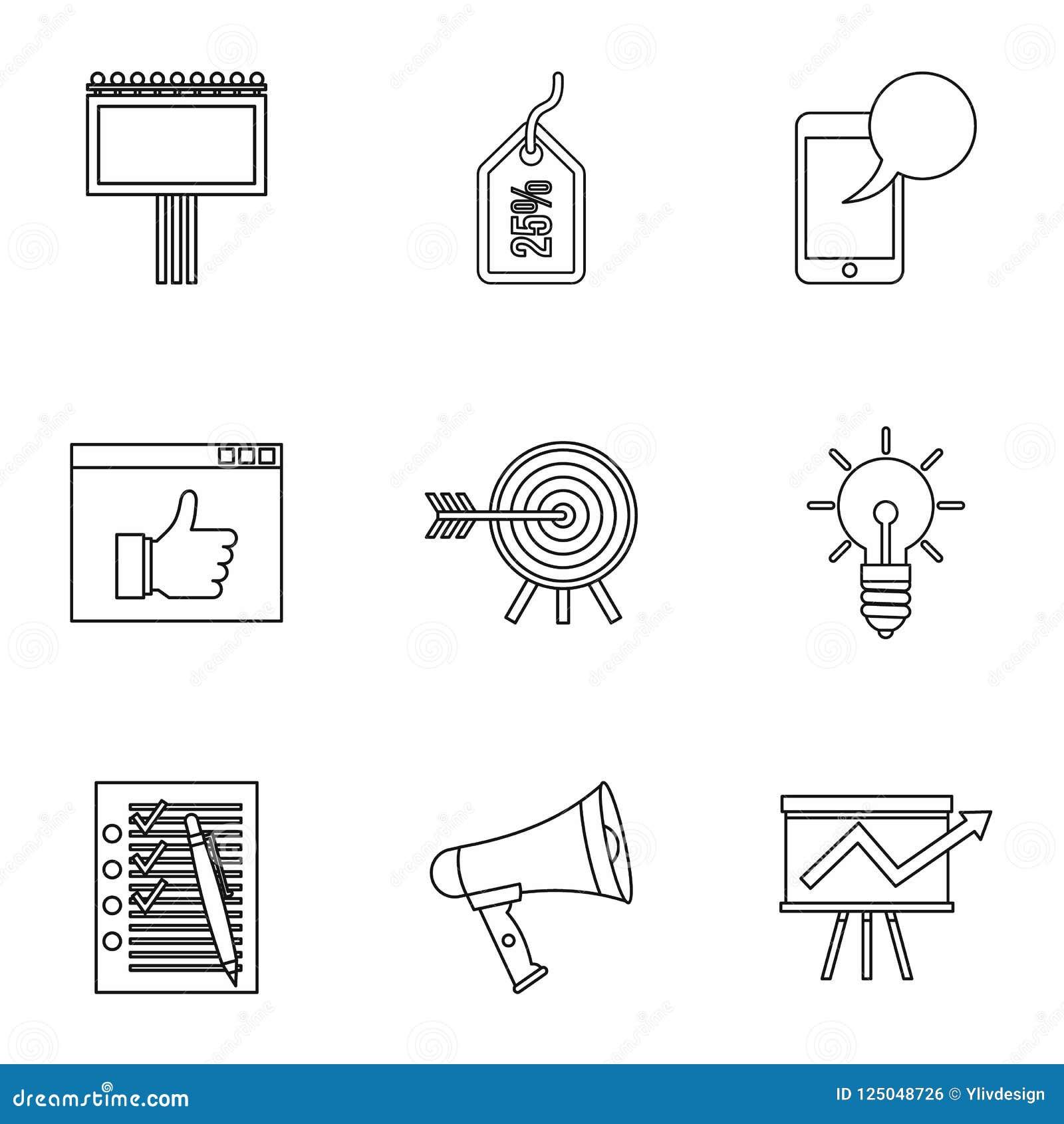 Typer av advertizingsymboler ställer in, skisserar stil