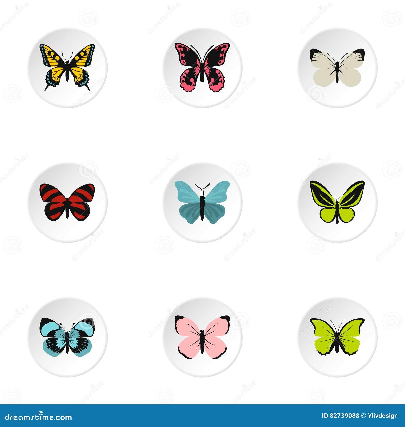 Typer av fjärilssymboler ställde in, plan stil
