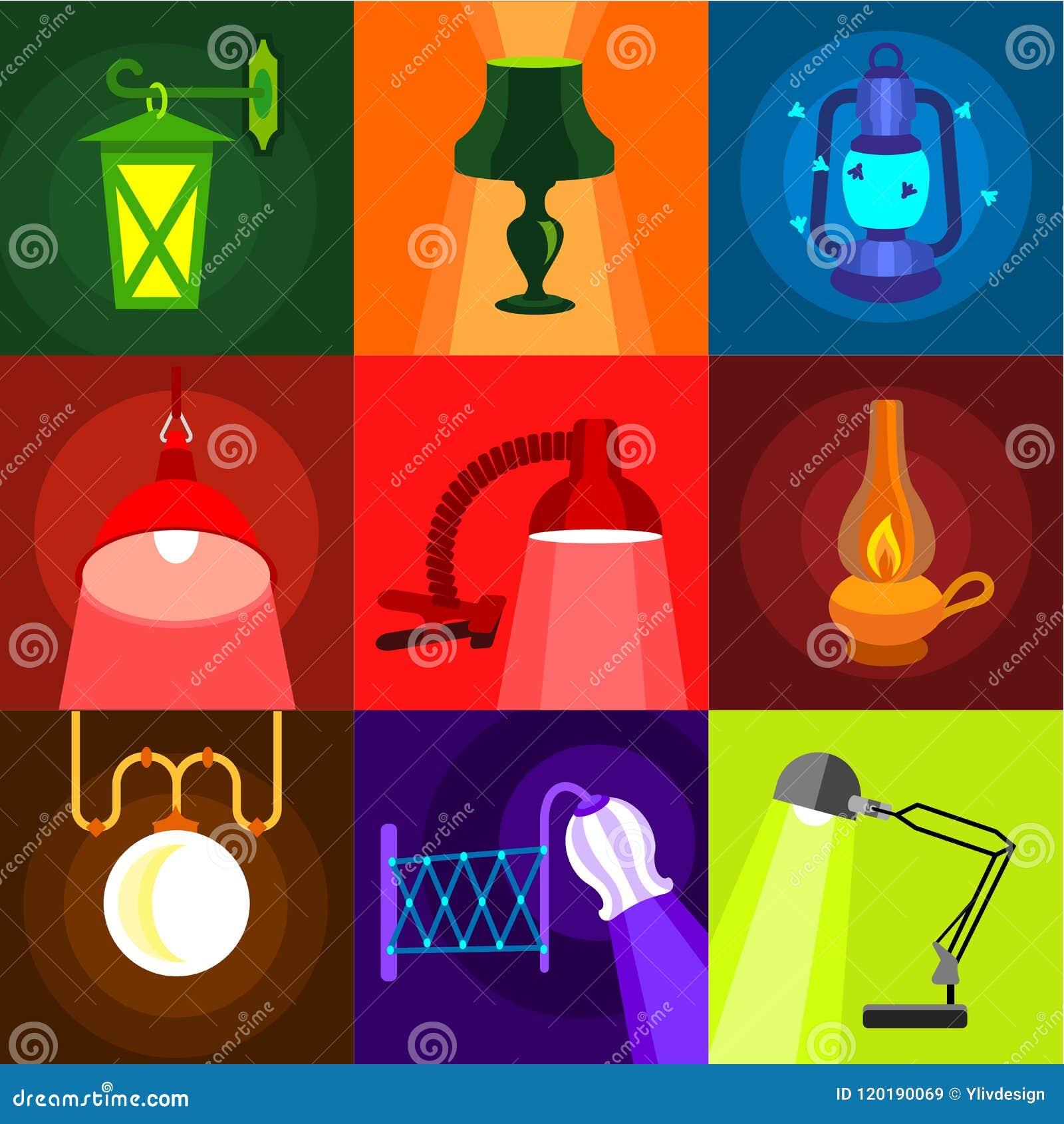 Typer av ljusa symboler ställde in, plan stil
