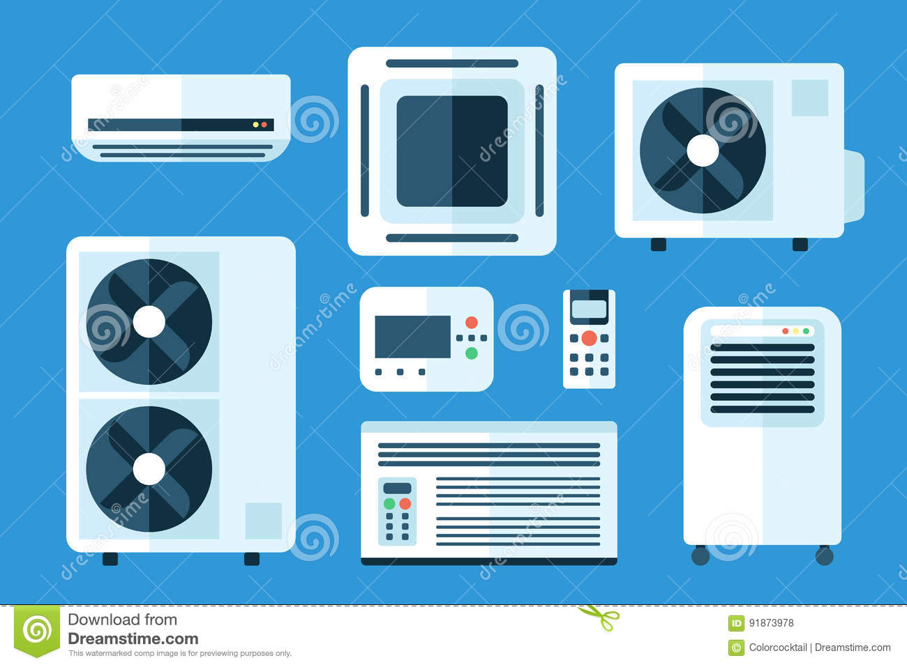 Types Of Air Conditioners Stock Vector Illustration Of
