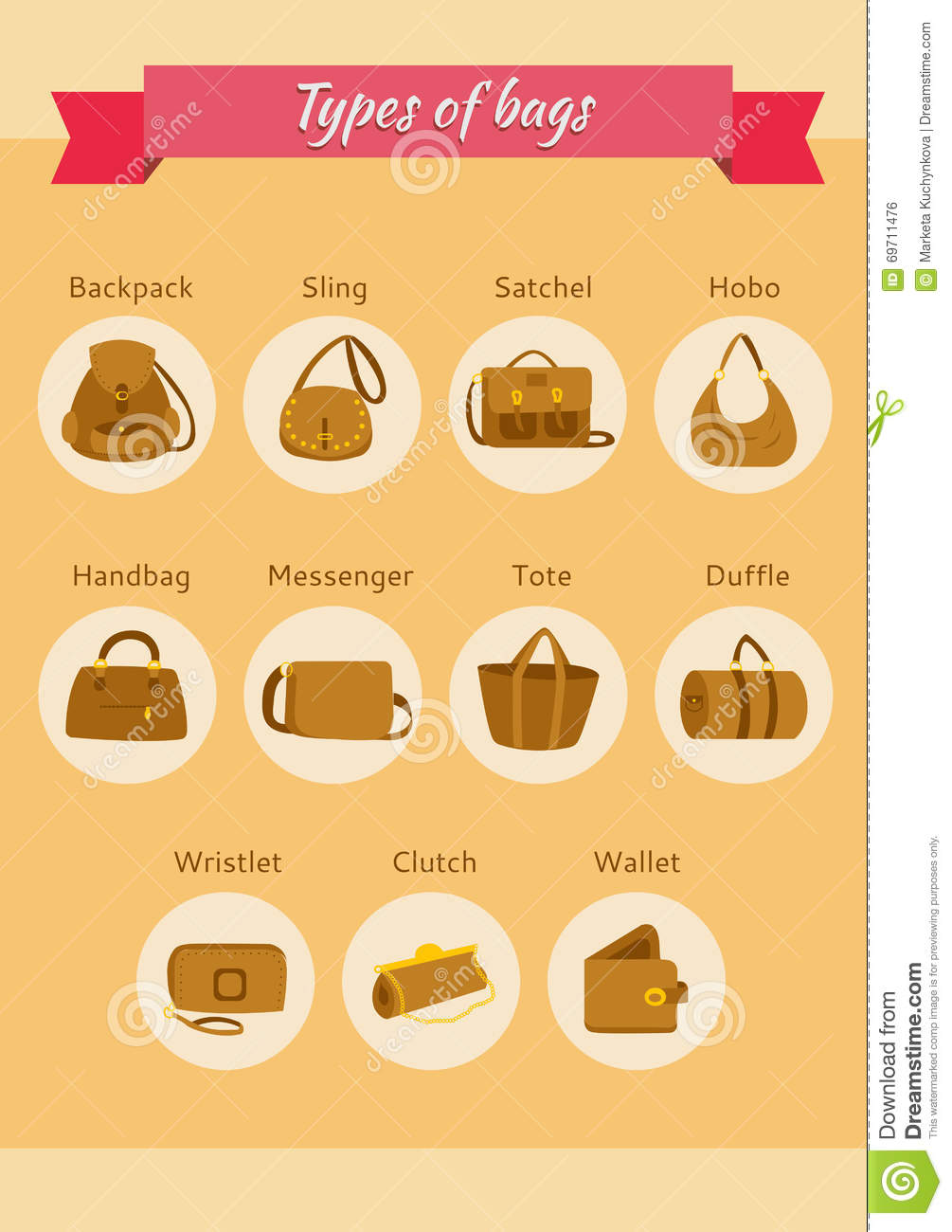 Types Of Bags Stock Vector - Image: 69711476