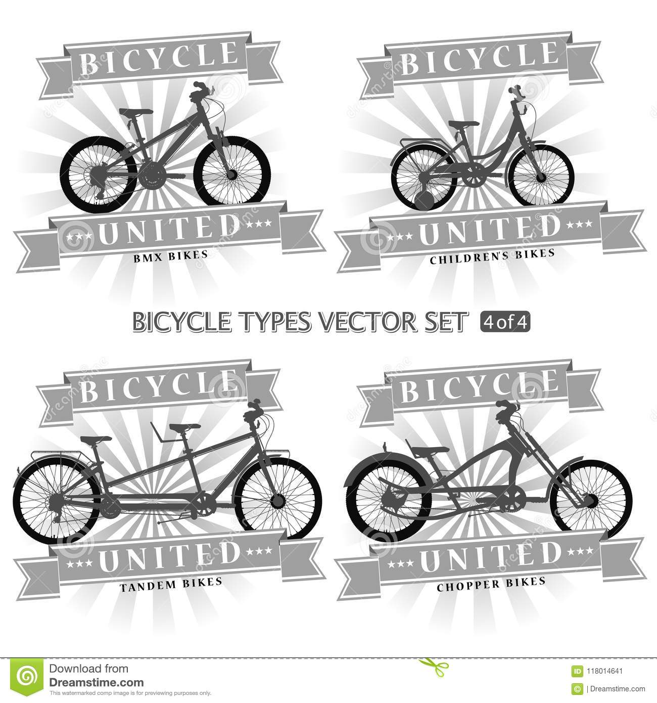 Types Of Bicycles In The Form Of Silhouettes. Stock Illustration ...