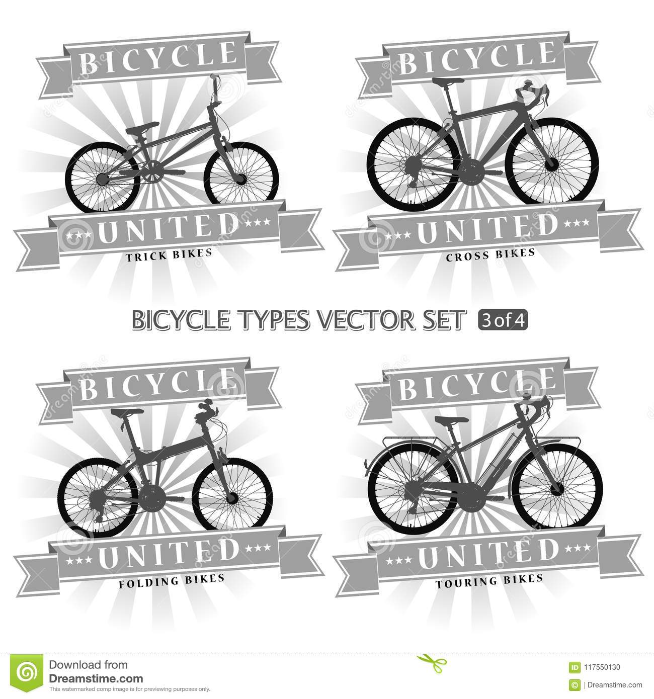 Types Of Bicycles In The Form Of Silhouettes. Stock Vector ...