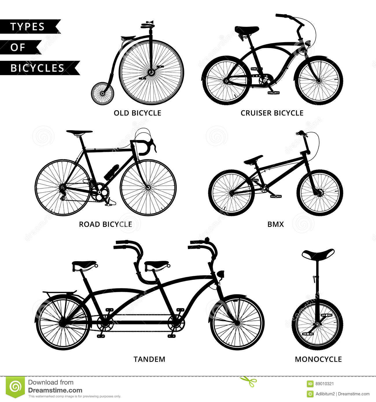 Types Of Bicycles >> Types Of Bicycles Silhouette Stock Illustration Illustration Of