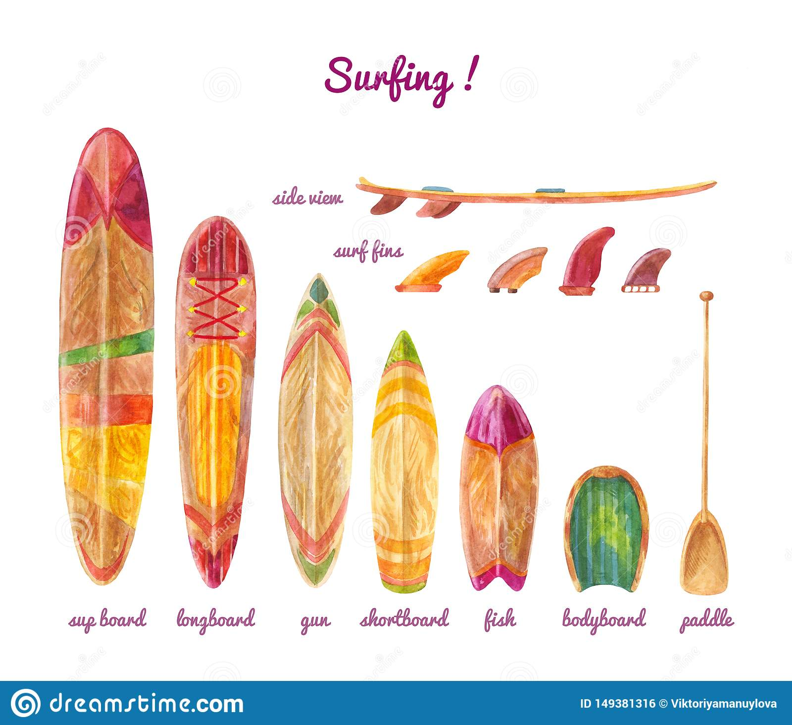 Surfboards Of Different Lengths And Types. Watercolor