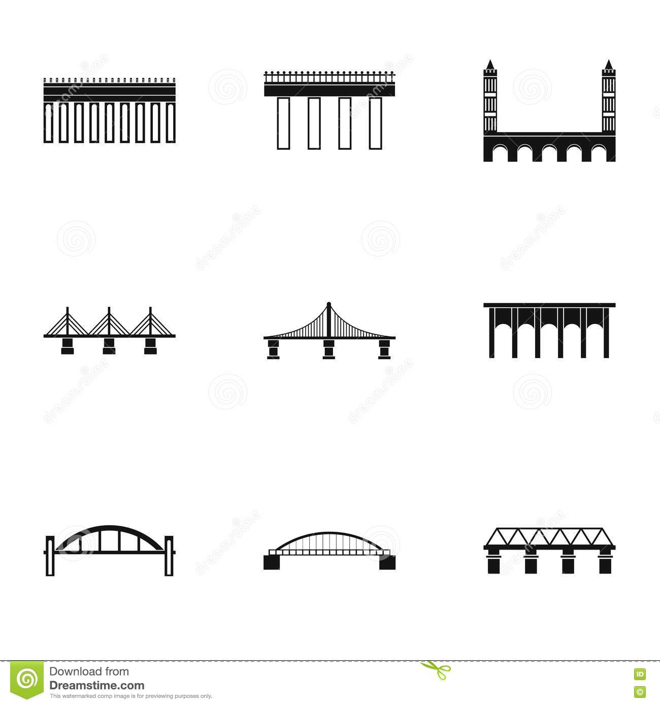 Types Of Bridges Icons Set Simple Style Stock Vector Illustration