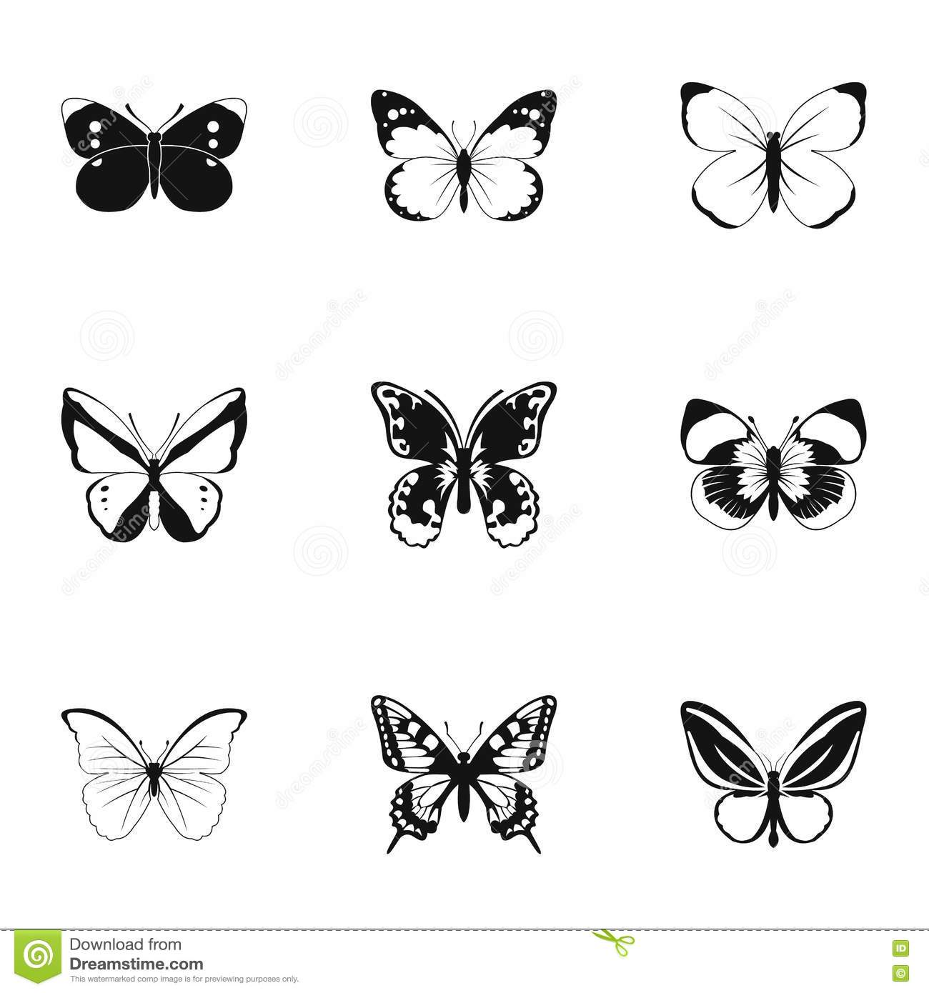 types of butterflies icons set simple style stock vector image