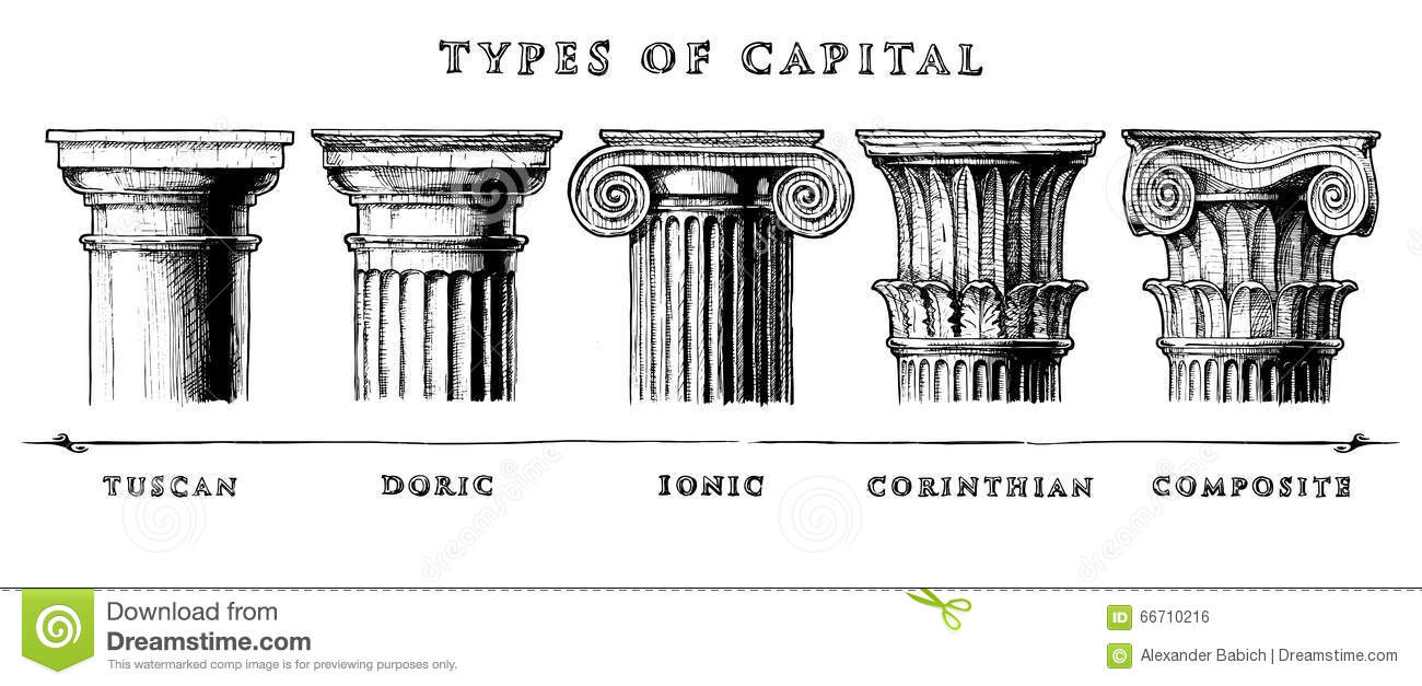 Types of capital classical order stock vector image for 5 orders of architecture