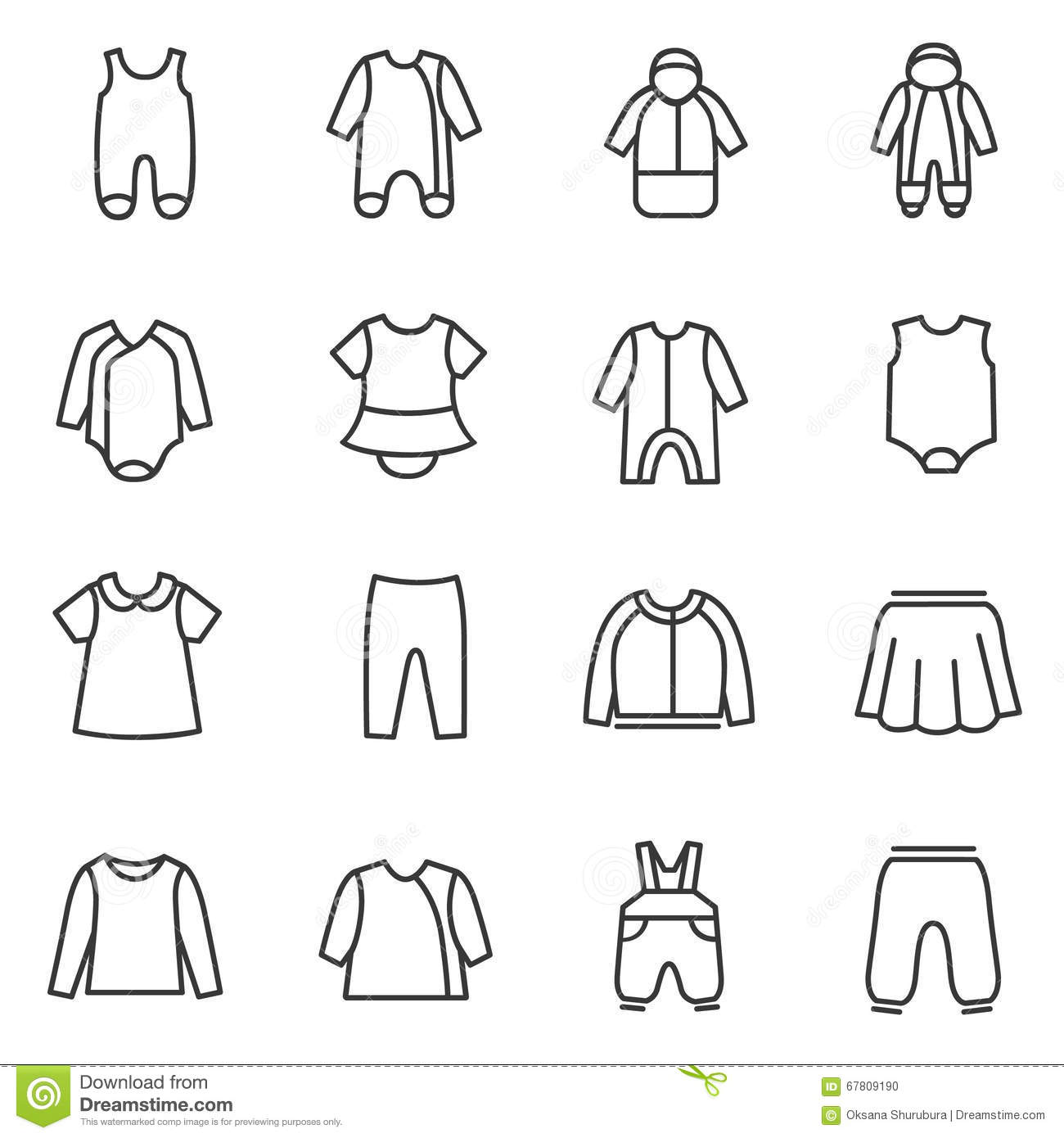 Types Clothes For Babies As Line Icons Vector