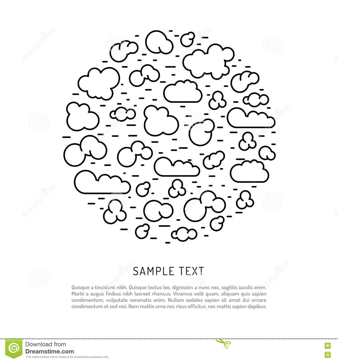types of clouds the atmosphere cartoon vector