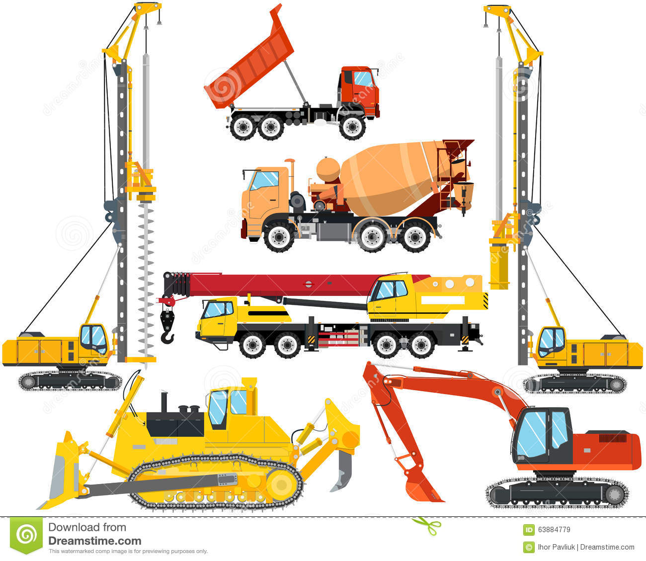 Types Of Construction Equipment Stock Vector Image 63884779