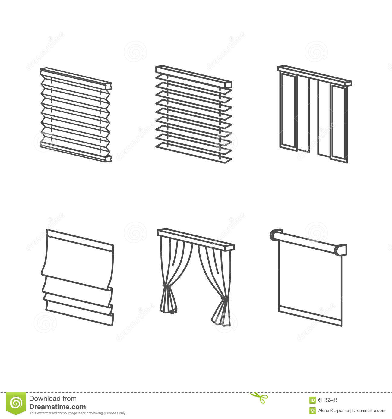 Types of curtains stock illustration illustration of - Tipos de cortinas ...