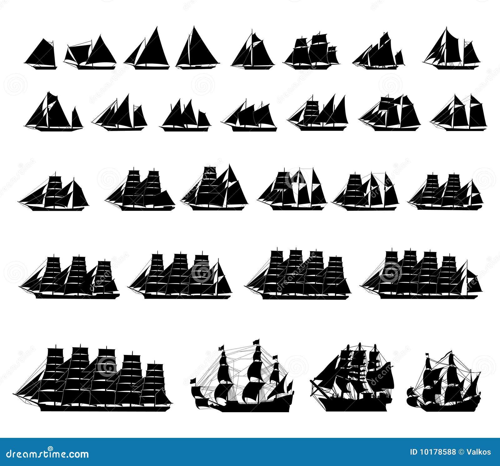 Connu Types De Bateaux à Voiles Photos libres de droits - Image: 10178588 PU34
