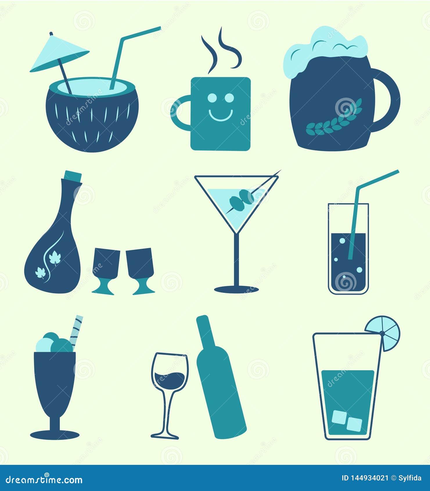 Types de boissons non alcoolisées et de boissons d alcool, vecteur