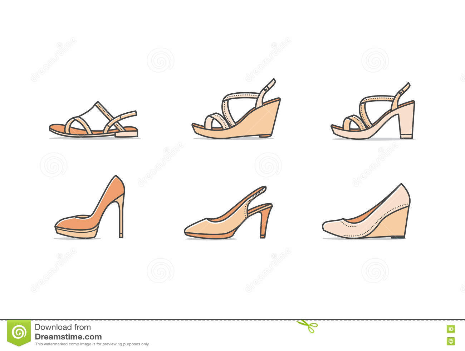 Illustration Vecteur De Femme Types Chaussures 6IbfymYv7g