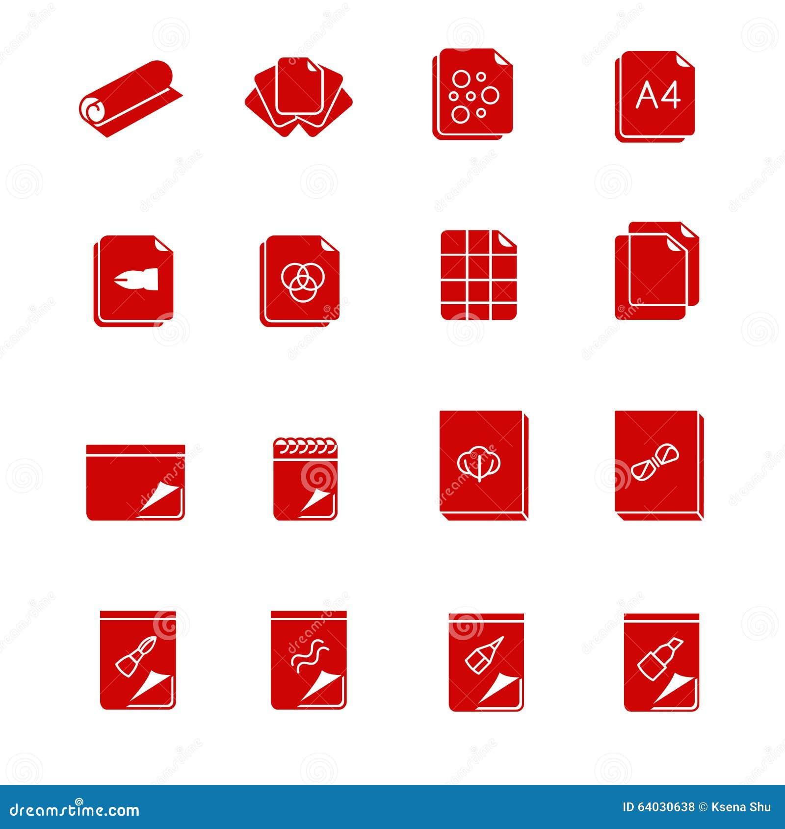 types de papier et de toiles pour l 39 art comme ic nes de glyph illustration de vecteur image. Black Bedroom Furniture Sets. Home Design Ideas