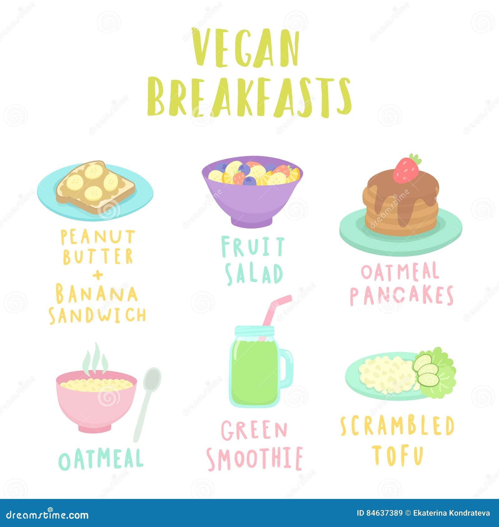 Types de petit déjeuner de vegan