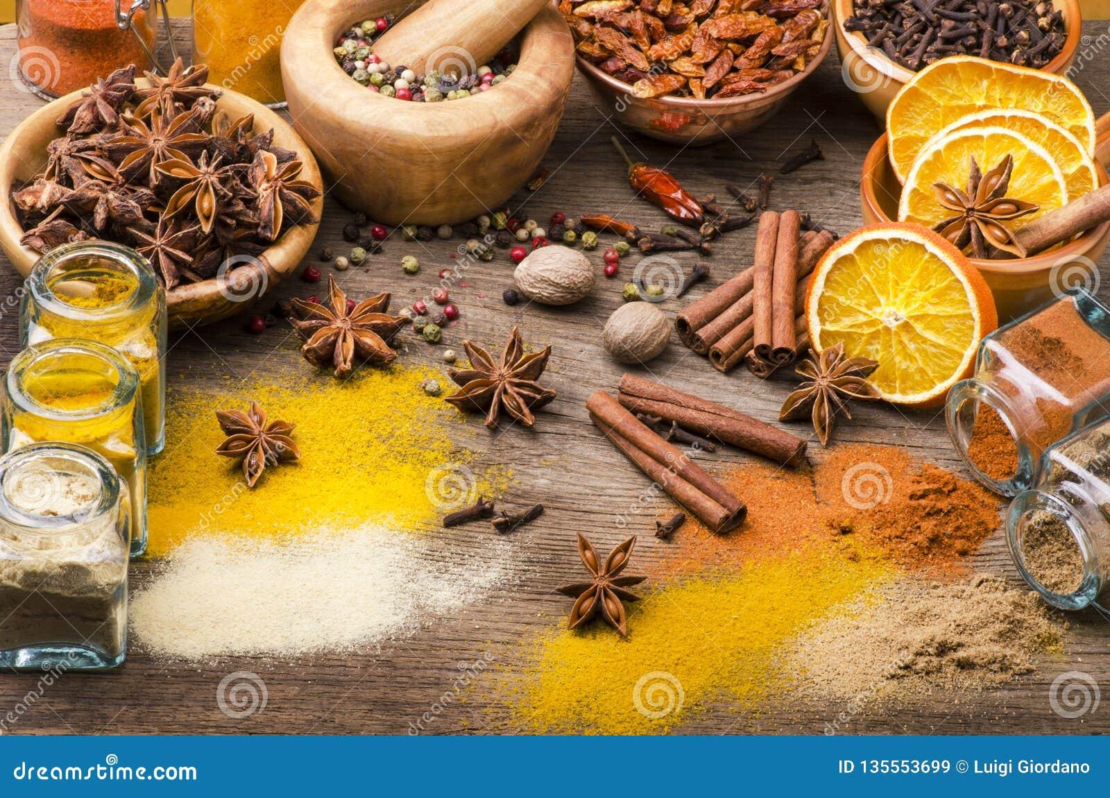Types des épices, des couleurs et de saveurs Durée toujours 1