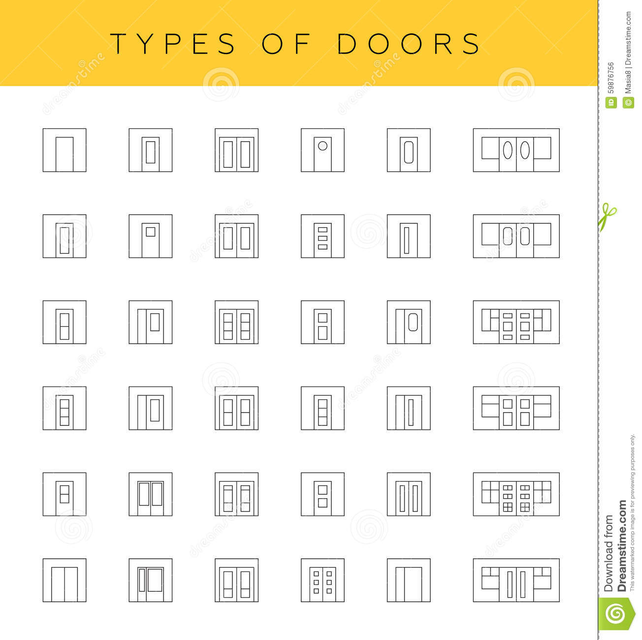 Types of doors stock illustration image of interior for Types of doors