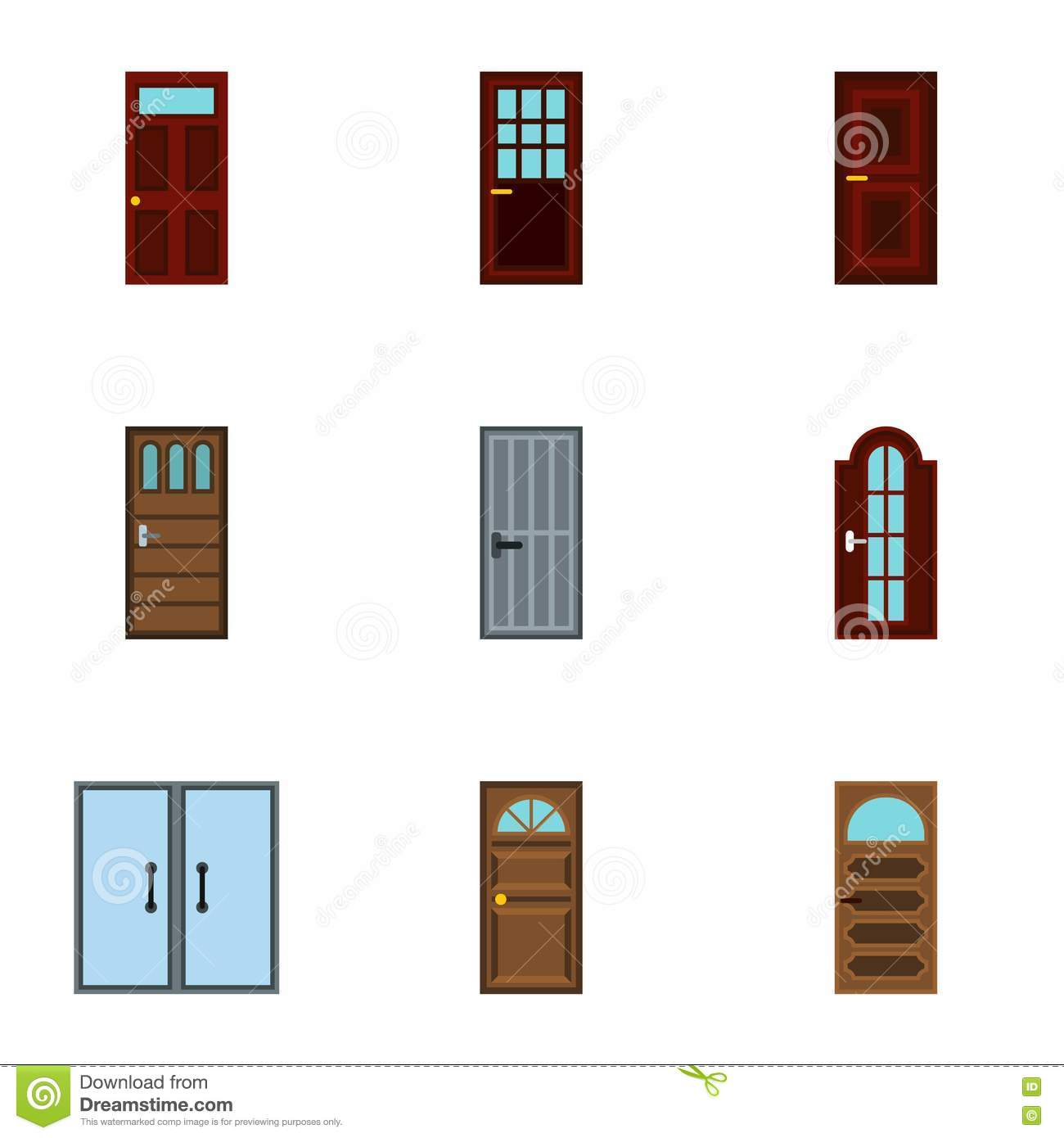 Types Of Doors Icons Set, Flat Style Stock Vector - Image: 80646057