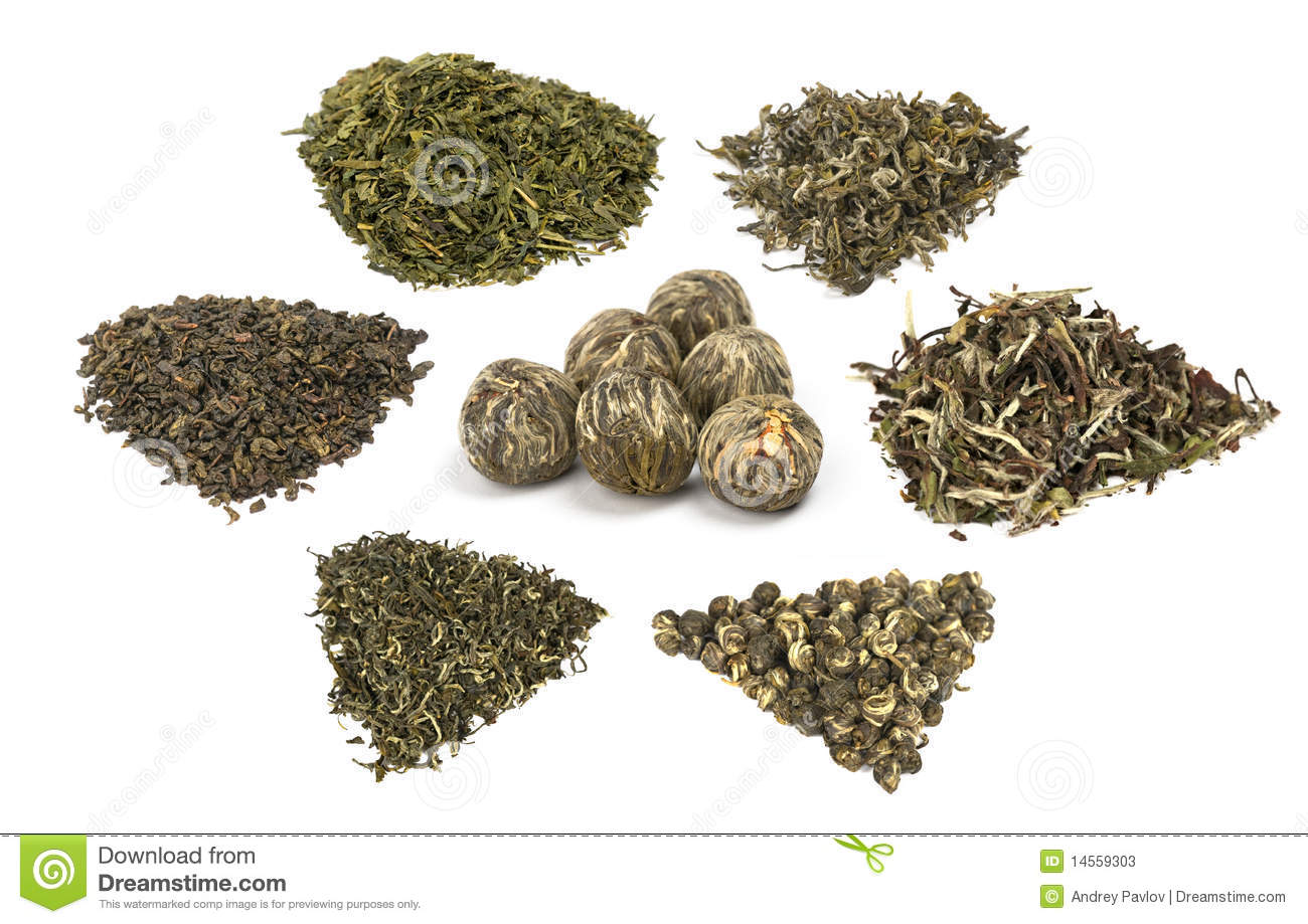 Types Of Elite Chineese Green Tea Stock Image Image Of Isolated