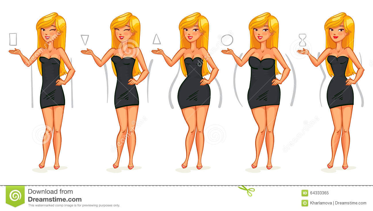 5 Types Of Female Figures Stock Vector Illustration Of