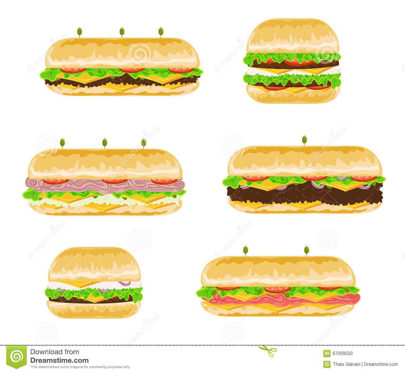 Types And Flavours Of Sandwiches Stock Vector - Image: 67009520
