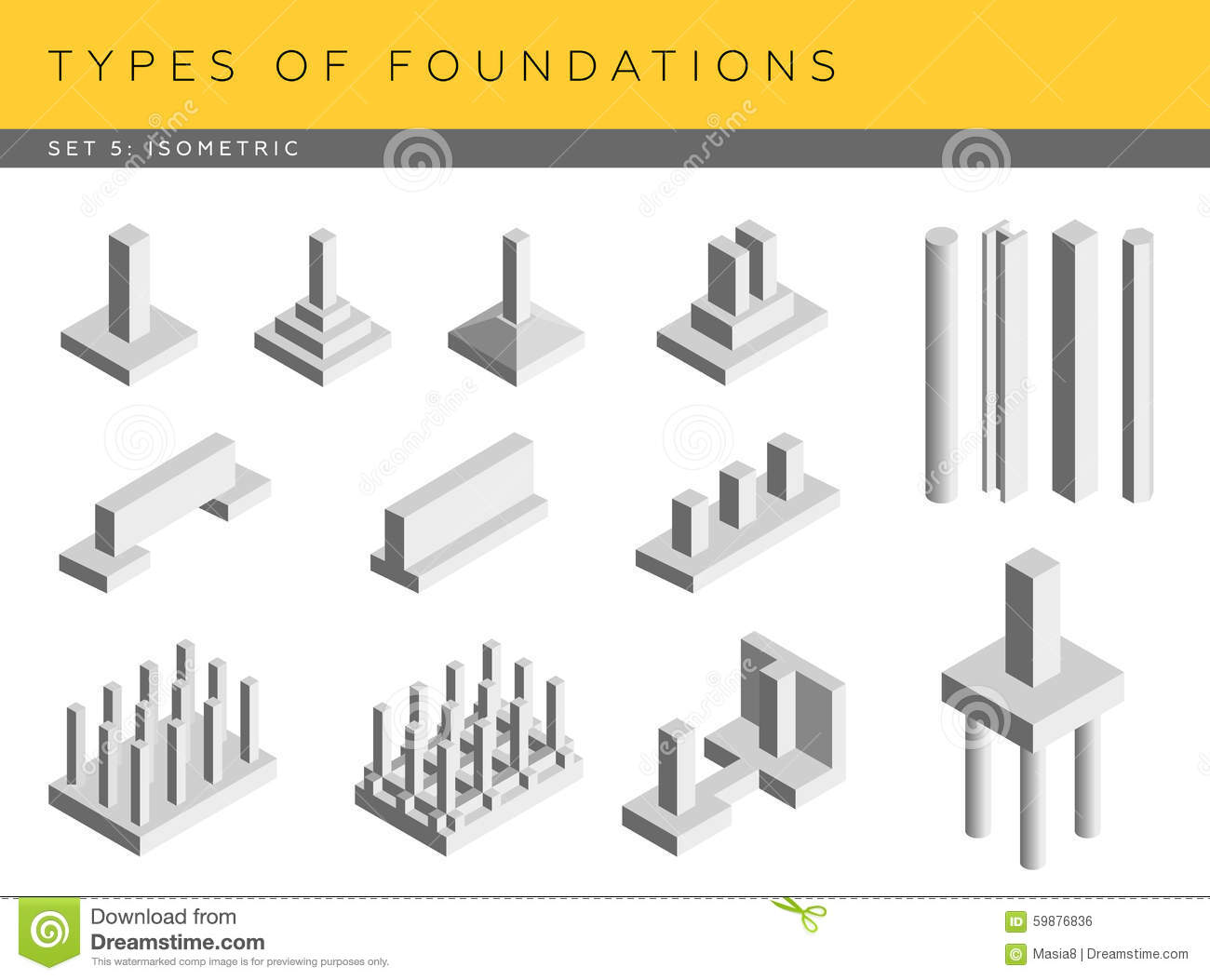 Types of foundations stock illustration image 59876836 Foundations types