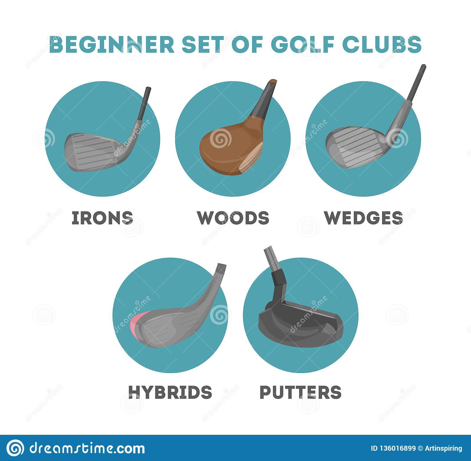 Types Of Golf Club For A Beginner Stock Vector