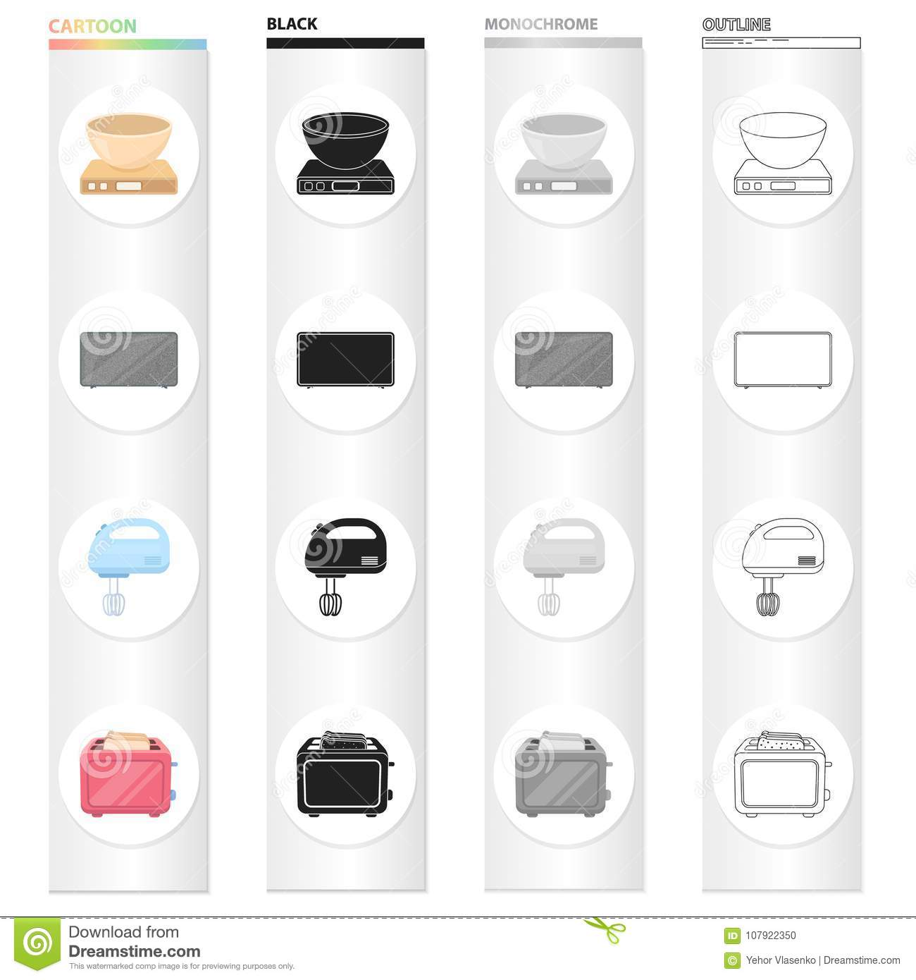 Types Of Household Appliances Cartoon Black Monochrome Outline Icons ...
