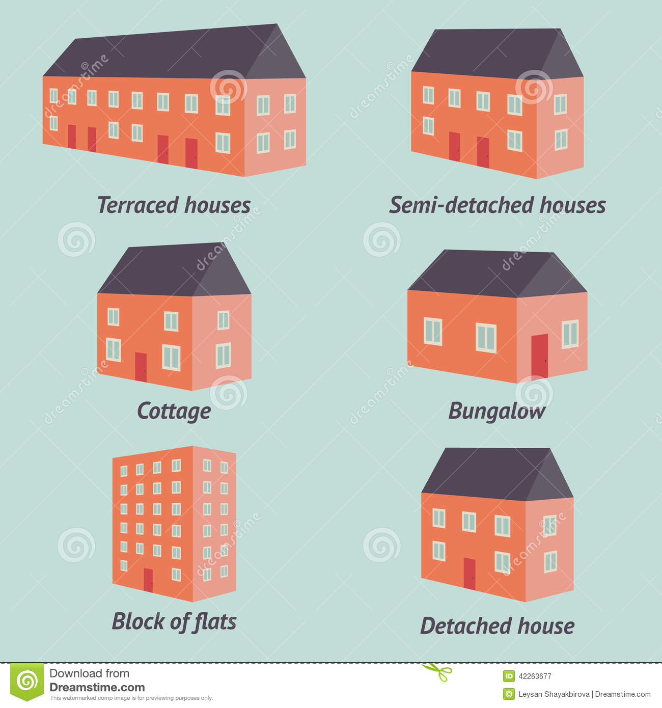 Types Of Houses Stock Vector Image 42263677