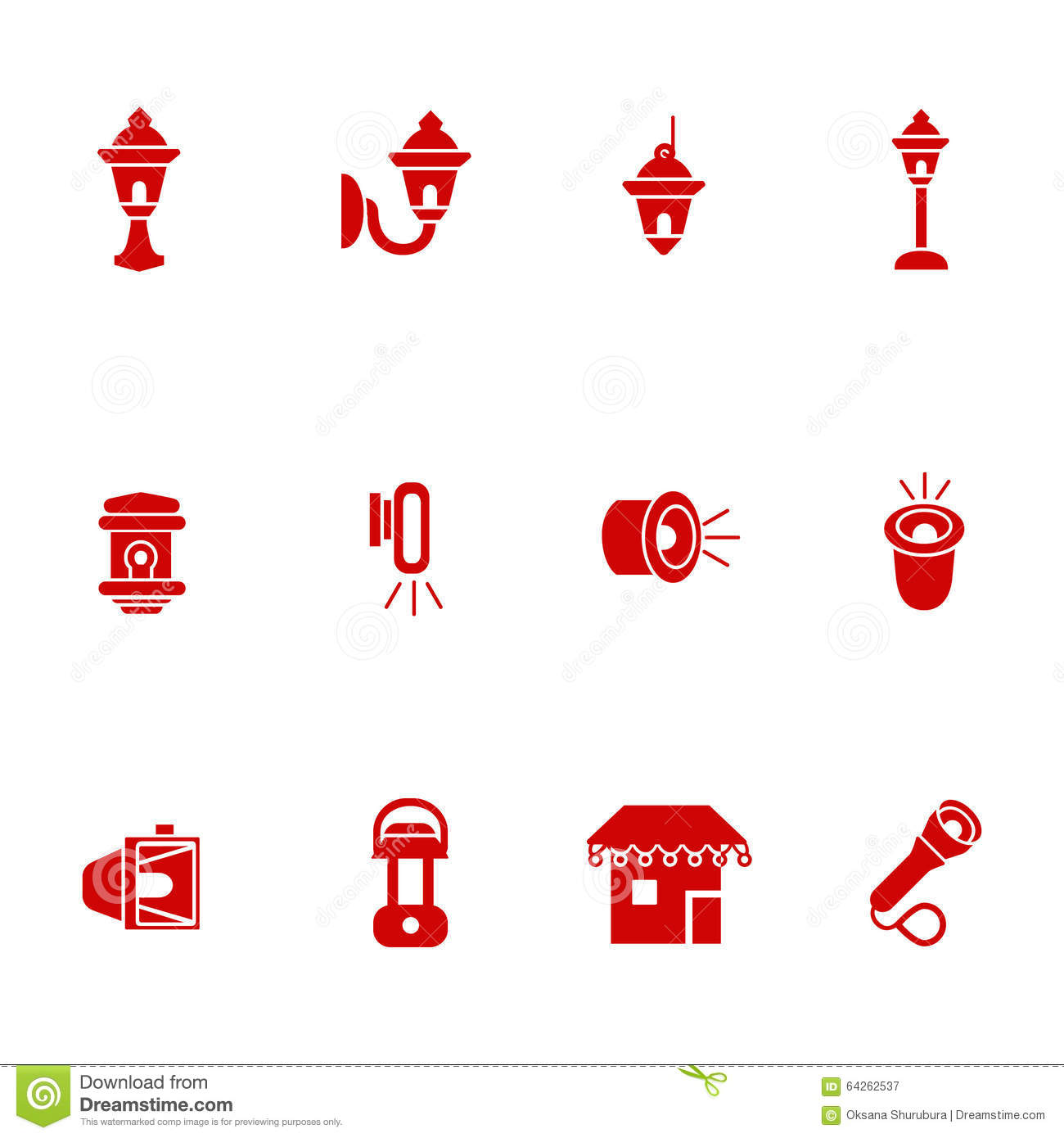 Landscape Lighting Icon: Types Of Lighting For Outdoor Use As Glyph Icons Stock