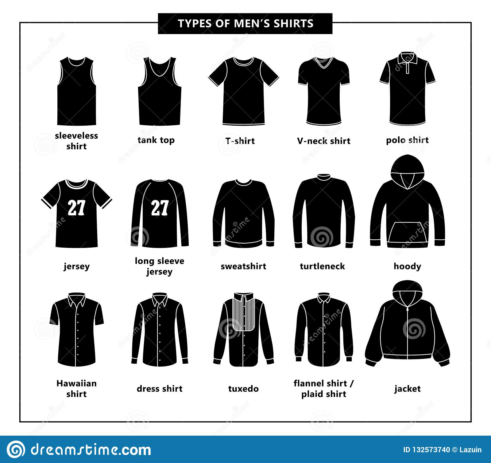 Types of men`s shirts stock vector. Illustration of solid - 132573740