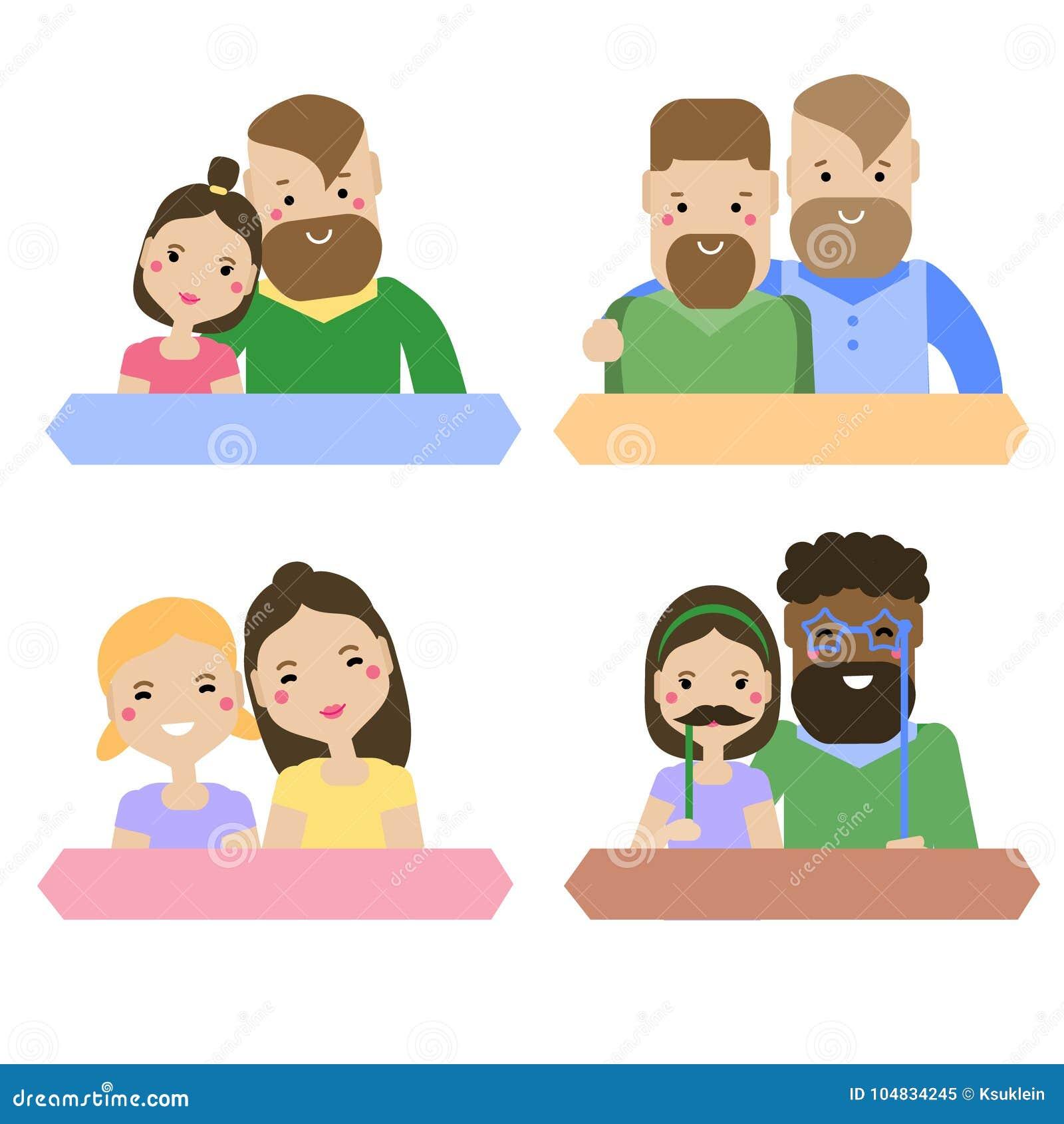 Types modernes de famille Couples hétérosexuels et homosexuels Lesbienne, femelles gaies et droites et mâles