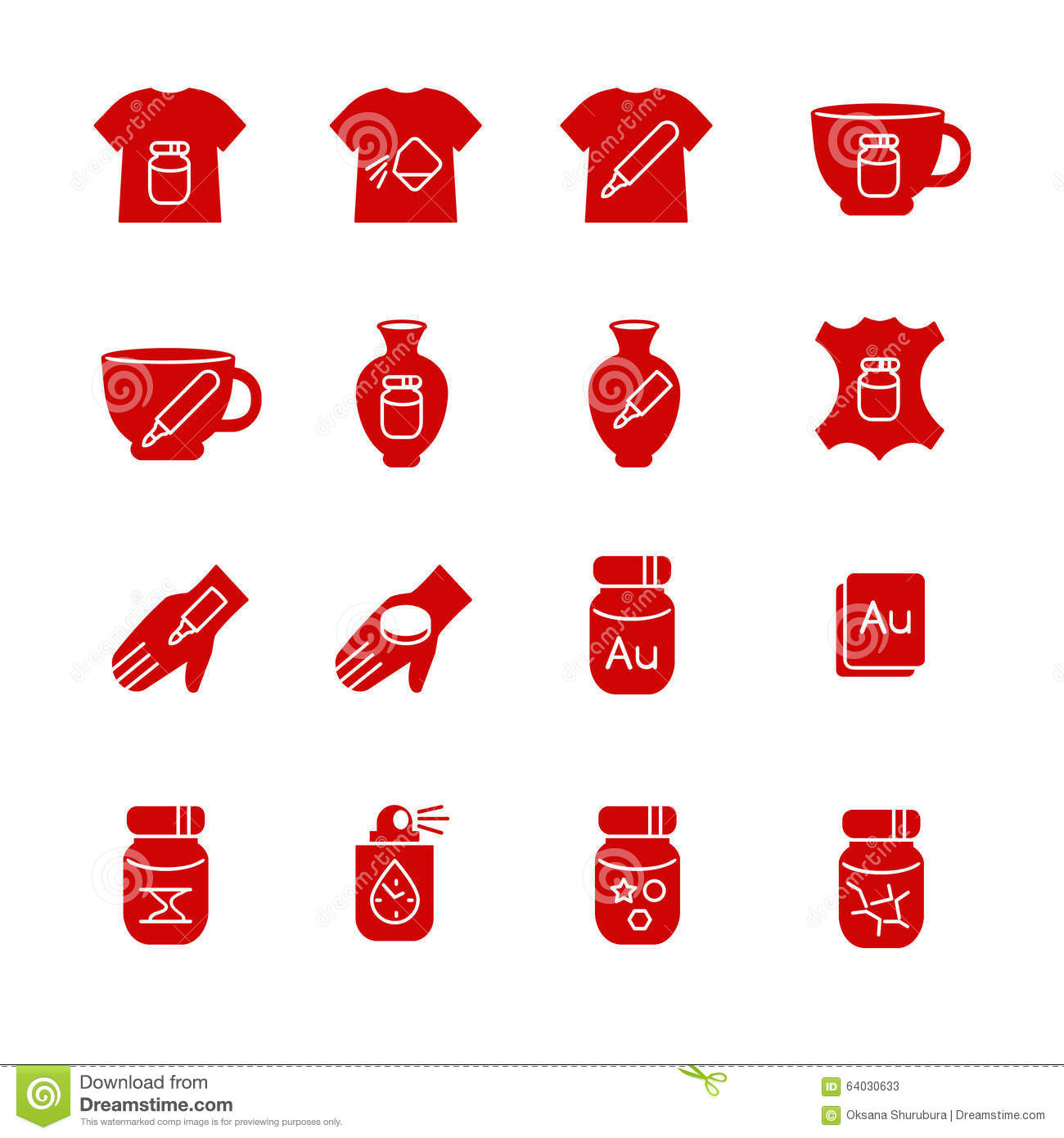Types Of Paint And Additions For Art As Glyph Icons Stock Vector Illustration Of Bottle Protective 64030633