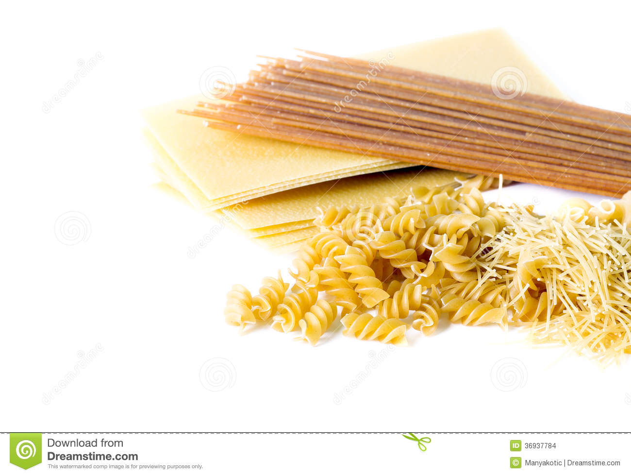 Types of raw pasta: lasagna sheets, wholewheat spaghetti, spiral ...