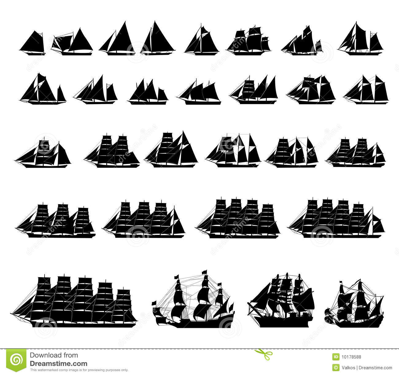 types of sailboats stock vector illustration of pirate 10178588